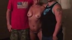 Nervous wife strips totally naked for 2 delivery men